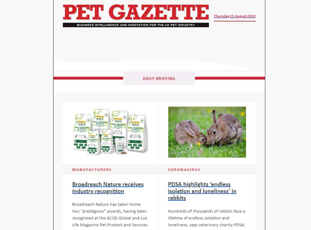 Pet Gazette daily briefing